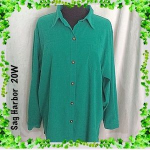 Sag Harbor Green Micro Suede Jacket Size 20W